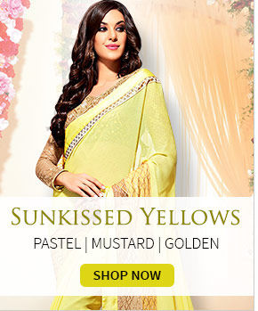 Attires in cheerful shades of Yellow. Explore!