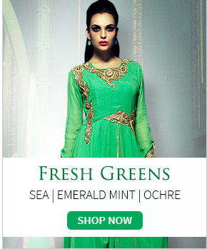 Attires in vibrant hues of Green. Explore!