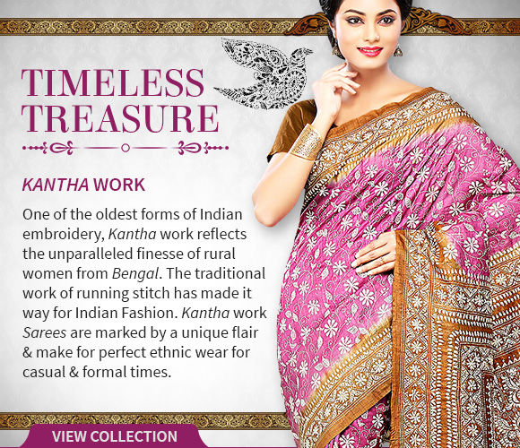 Choose from our lustrous range of Kantha Work Sarees. Shop!