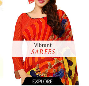 Sarees with contemporary prints. Shop!
