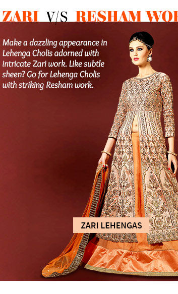 Pick your favorite from our beautiful collection of Lehenga Cholis with intricate Zari work. Buy Now!