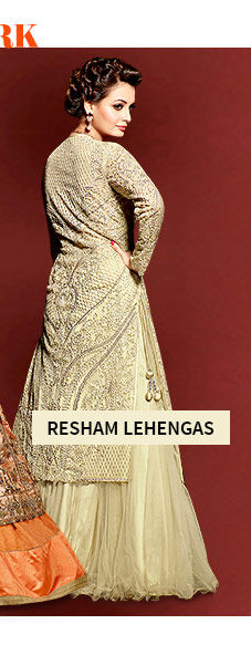 Pick your favorite from our beautiful collection of Lehenga Cholis with Resham work. Buy Now!