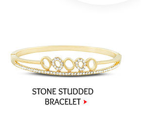 Stone Studded Openable Bracelet in Golden