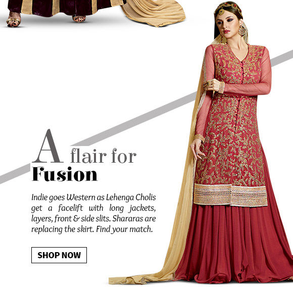 Stylish Indo Western Lehenga Cholis with jackets, layers, slits & more. Shop Now!