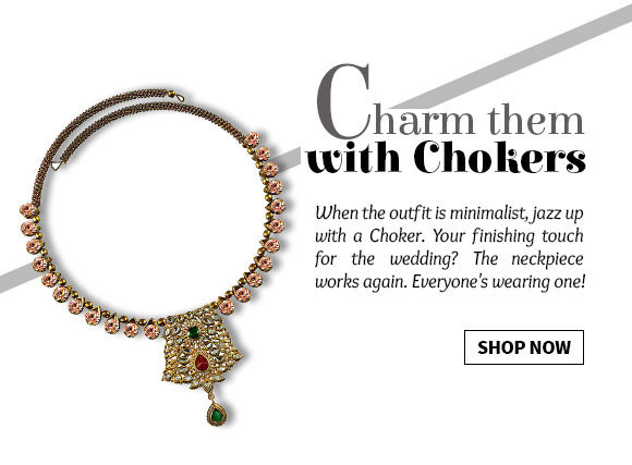 Range of stone studded, Kundan or Polki Chokers in beautiful designs. Shop Now!