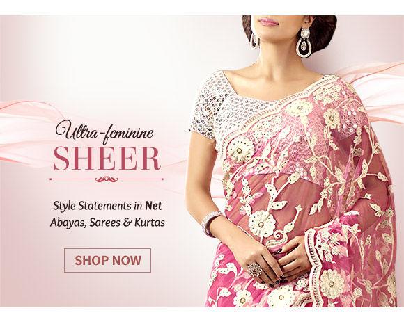 The Sheer Trend in Abayas, Half-n-Half Sarees, Circular Lehengas & more in Net fabric. Shop!