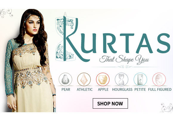 Form-flattering kurtas for Pear-shaped, Athletic, Apple-shaped, Hourglass, Petite & Fuller body. Shop!