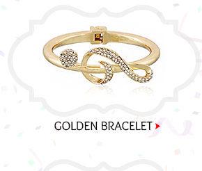 Stone Studded Openable Bracelet in Golden