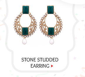 Stone Studded Earring in Golden and Dark Green