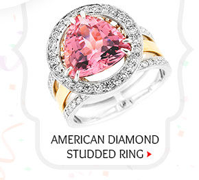 American Diamond Studded Ring in Red and White