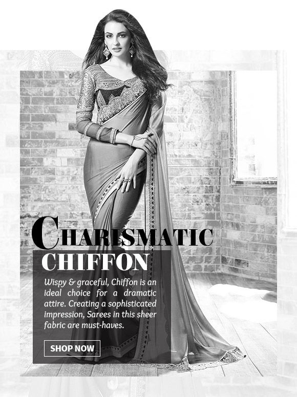 A myriad of beautiful Chiifon Sarees in attractive hues. Shop Now!