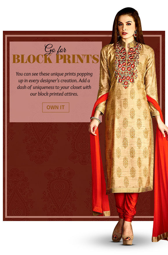 A wide array of beautiful Ensembles in Block Prints. Buy Now!