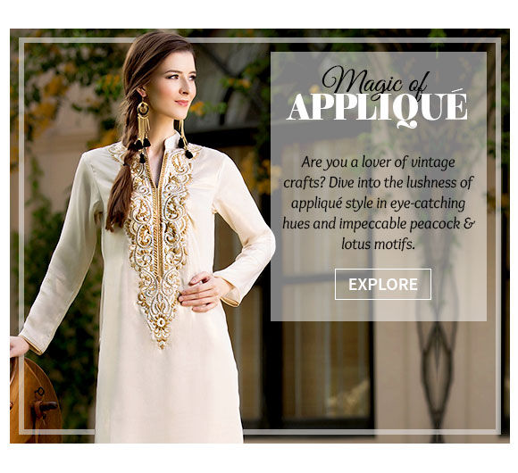 An inspiring array of Attires with Appliqué Work. Buy Now!