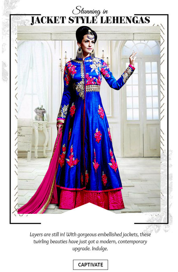Pick your favorite from our stunning array of Jacket Style Lehengas. Buy Now!