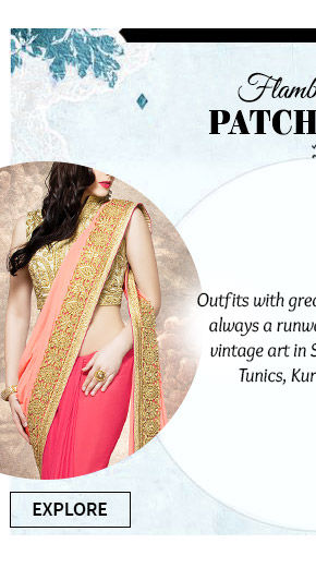Gorgeous collection of Sarees Patch work. Buy Now!