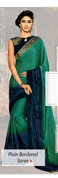 A myriad of beautiful Plain Sarees with statement borders. Buy Now!