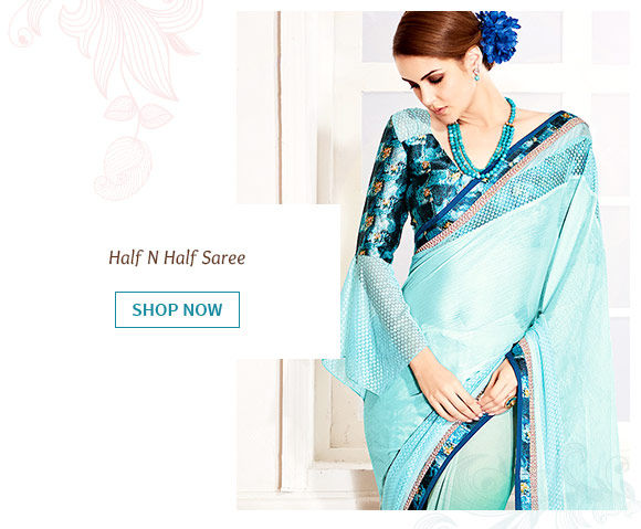 Half N Half Chiffon and Georgette Saree in Blue Ombre. Buy Now!