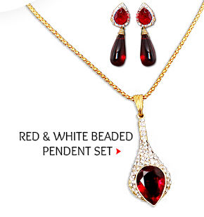 Stone Studded Bead Pendent Set in Red & White. Buy Now!