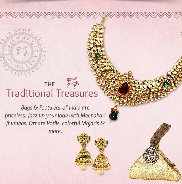 A range of Meenakari Jewelry, Jhumkas, Potlis, Mojaris, Kolhapuris & more. Shop!