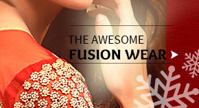 Fusion Wear in Red, White & Green with embroidery for Xmas season. Shop!