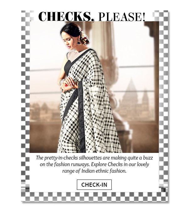 Beautiful Salwars Suits, Sarees & Indo-western in Check pattern. Buy Now!