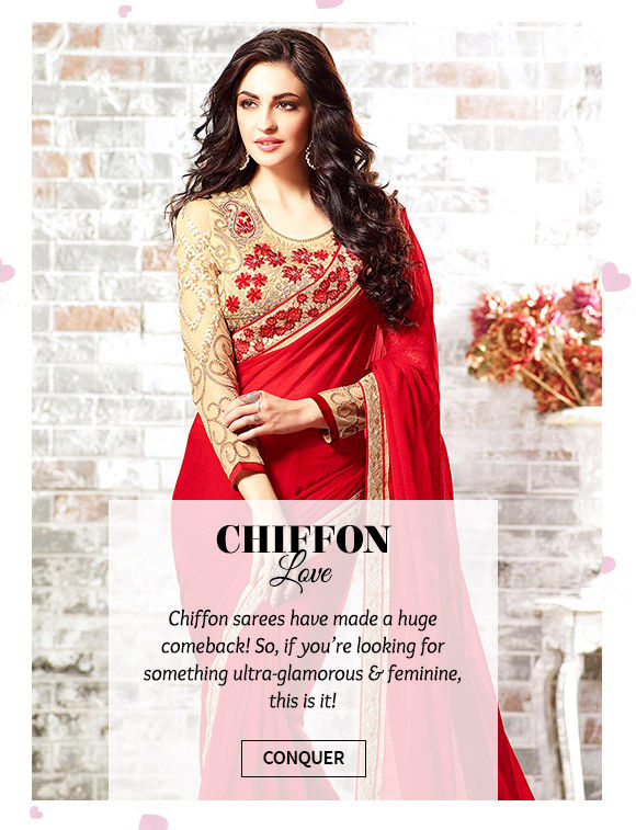 Lovely repertoire of Chiffon Sarees. Buy Now!