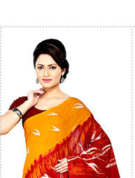 Printed Cotton Saree in Mustard and Red