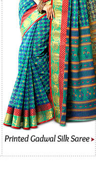 Printed Gadwal Silk Saree in Teal Green
