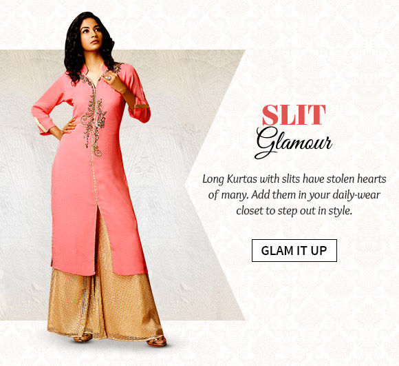 Choose from our wide range of Long Kurtas with slits. Buy Now!