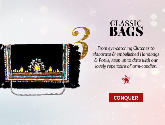 Potlis, Handbags, Clutches, Sling Bags & more in attractive hues & designs. Buy Now!
