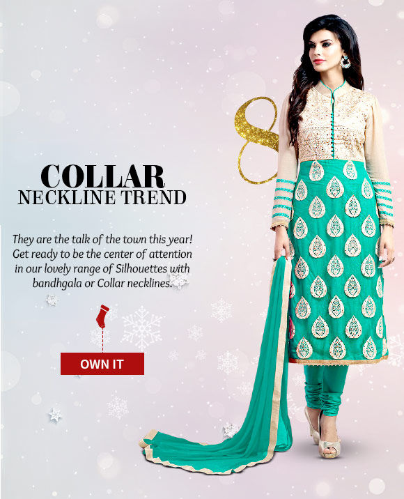Pick your favorite from our gorgeous range of Salwar Kameez, Indo western, Lehenga Cholis with Collar neckline. Buy Now!