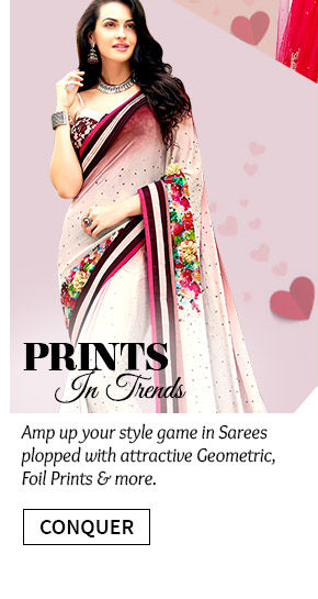 Gorgeous Sarees in Geometric, Foil prints, Polka Dots & more are up for grabs. Buy Now!
