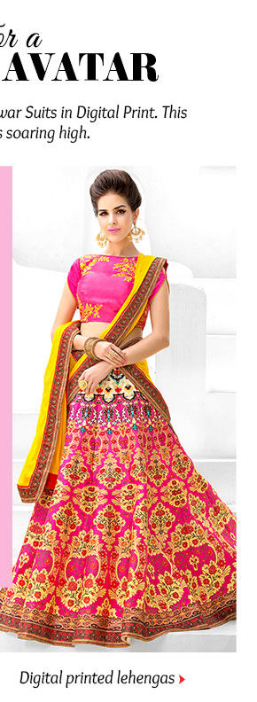 An inspiring array of Lehenga Cholis in Digital Print. Buy Now!