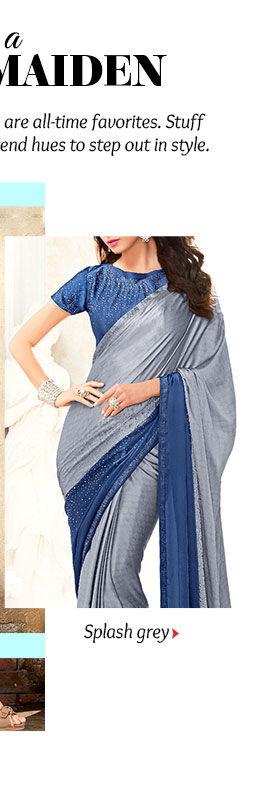 Explore Sarees, Salwar Suits, Lehenga Cholis & more in Grey hue. Buy Now!