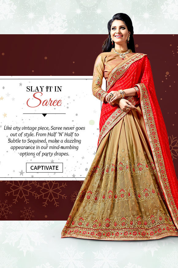 Select from our lovely Collection of Party Wear Sarees. Buy Now!