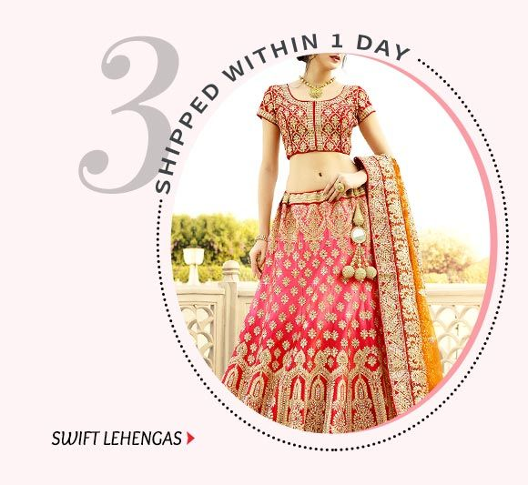 Dispatch within 24 hours- Circular, A-line Lehengas & more. Buy Now!