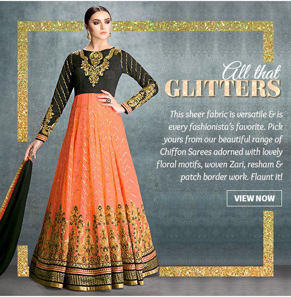 Shimmery collection of Sarees, Punjabi Suits, Lehenga Cholis & more. Buy Now!