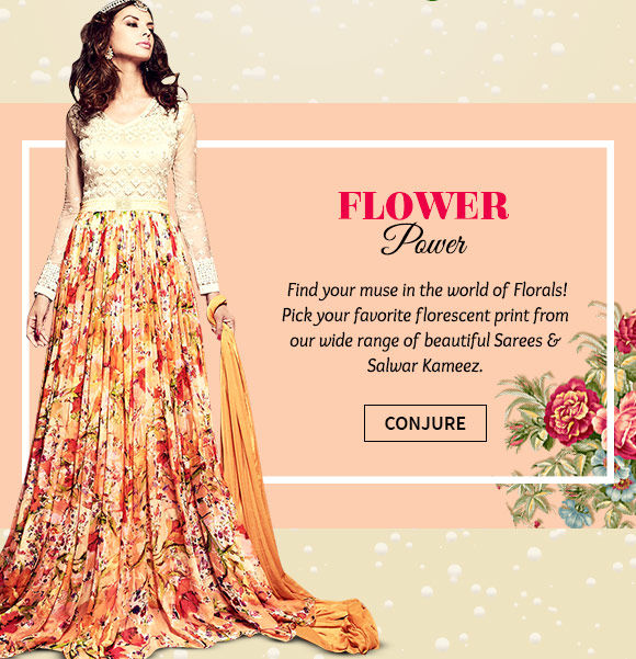 A myriad of gorgeous Sarees & Salwar Kameez in floral prints. Buy Now