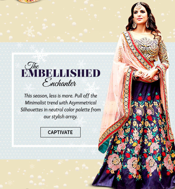 Select from our inspiring array of Attires adorned with heavy embellishments. Buy Now!