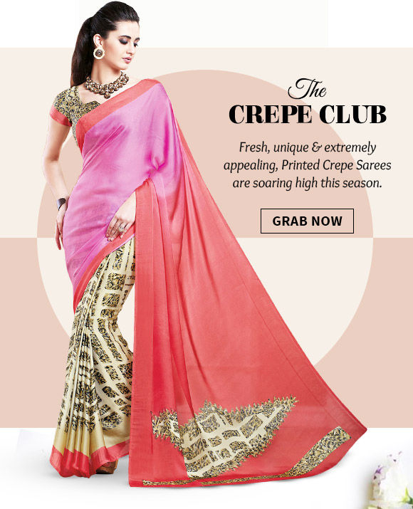 A beautiful range of Printed Crepe Sarees. Buy Now!