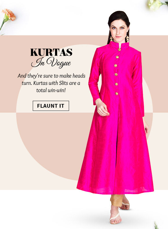 Gorgeous array of Jacket Style Kurtas with Slits. Buy Now!