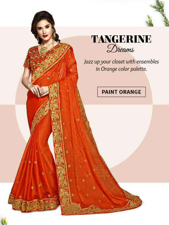 Lovely range of Ensembles in Orange hues. Buy Now!