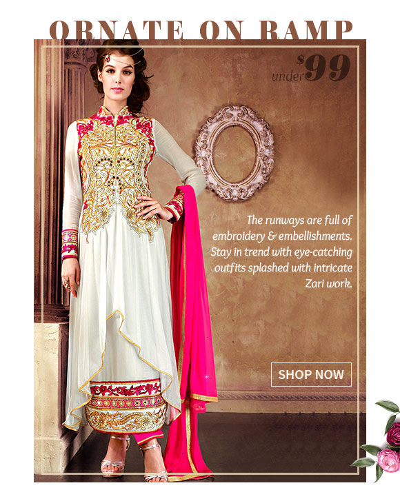 Select from our gorgeous Collection of Zari Work Attires. Buy Now!