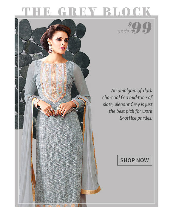 Sarees, Salwar Kameez, Lehengas & more in grey hue. Shop Now!
