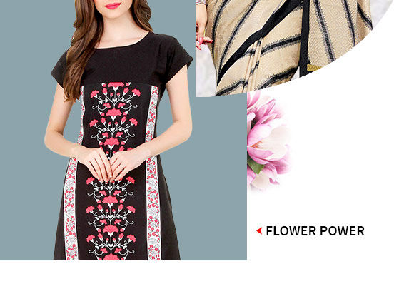 Neutral colored Indo-western with floral prints. Buy Now!