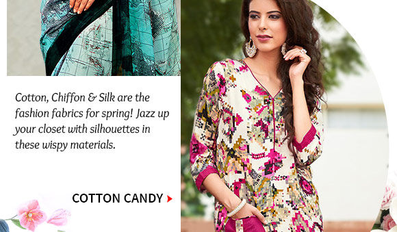 Abstract Printed Cotton Sarees, Salwar Suits, Blouses & more. Buy Now!