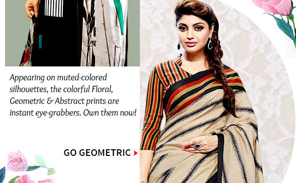 Neutral colored Sarees with geometric prints. Buy Now!