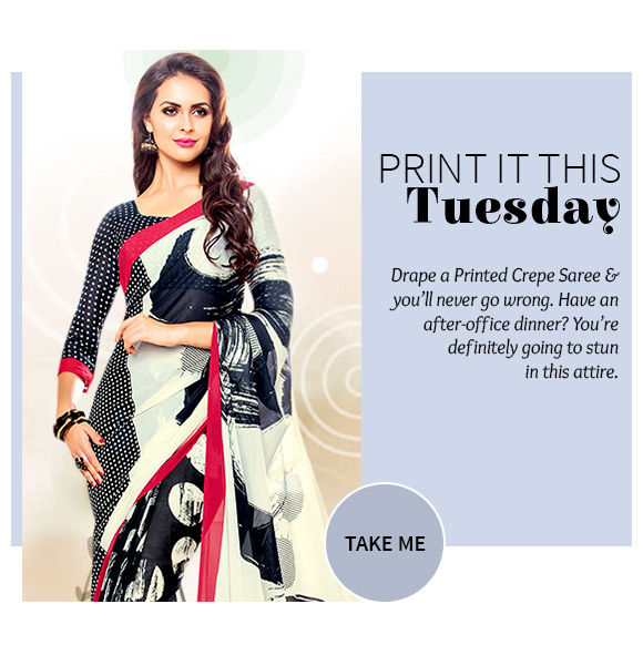 Our lovely array of Printed Crepe Sarees. Buy Now!
