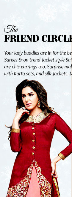 Jacket style Suits or Chiffon Sarees with attractive Earrings for lady friends in $50-100. Shop!