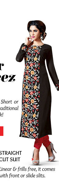 Straight Cut Salwar Kameez with front or side slits. Order now!